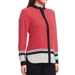 Anne klein polka dot color block blouse small top